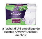 Coupon Rabais Always Discreet Imprimable De 3$ Sur pgEveryday