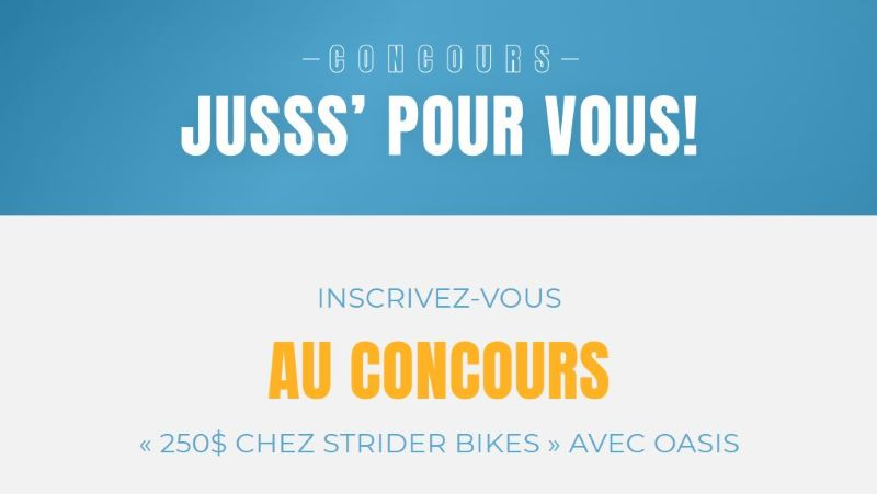 Concours Gagnez 250$ Chez Strider Bikes!