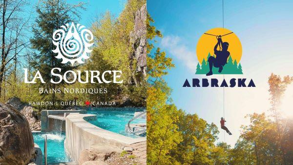 Concours Gagnez Une Escapade Pour 2 Personnes à Arbraska Rawdon Et à La Source Bains Nordiques!
