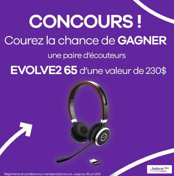 Concours Gagnez Une Paire D'écouteurs Jabra Evolve2 65 D'une Valeur De 230,00$!