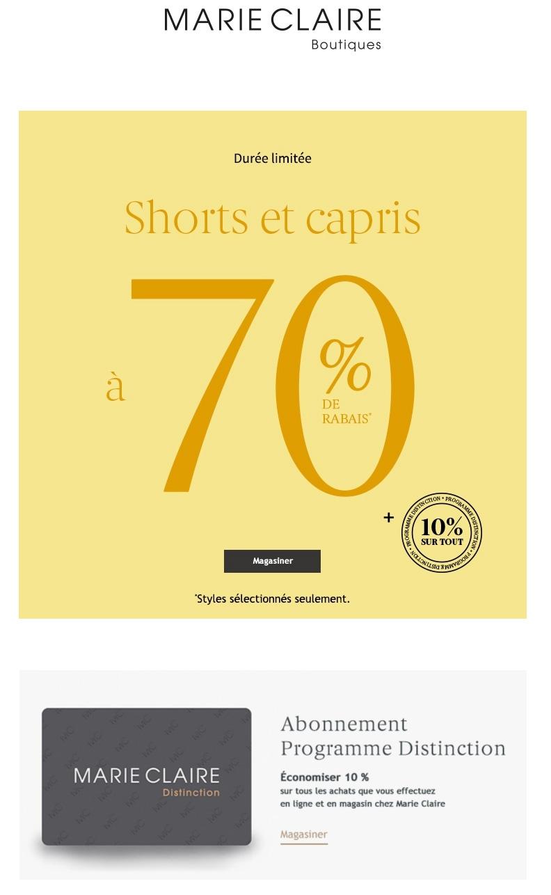 Nos Shorts Et Capris Favoris à 70 % De Rabais