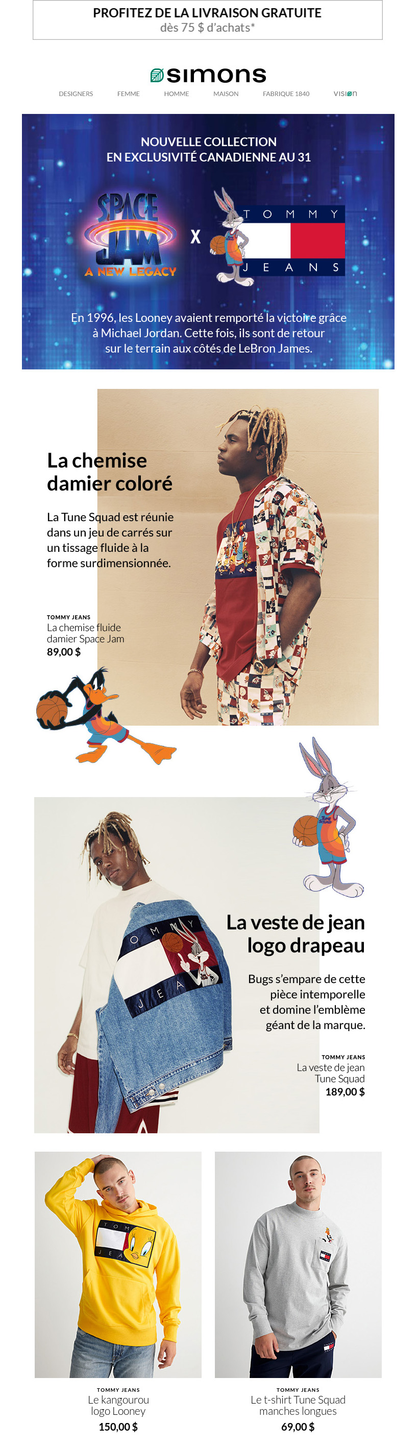 Nouveau! Space Jam: A New Legacy X Tommy Jeans