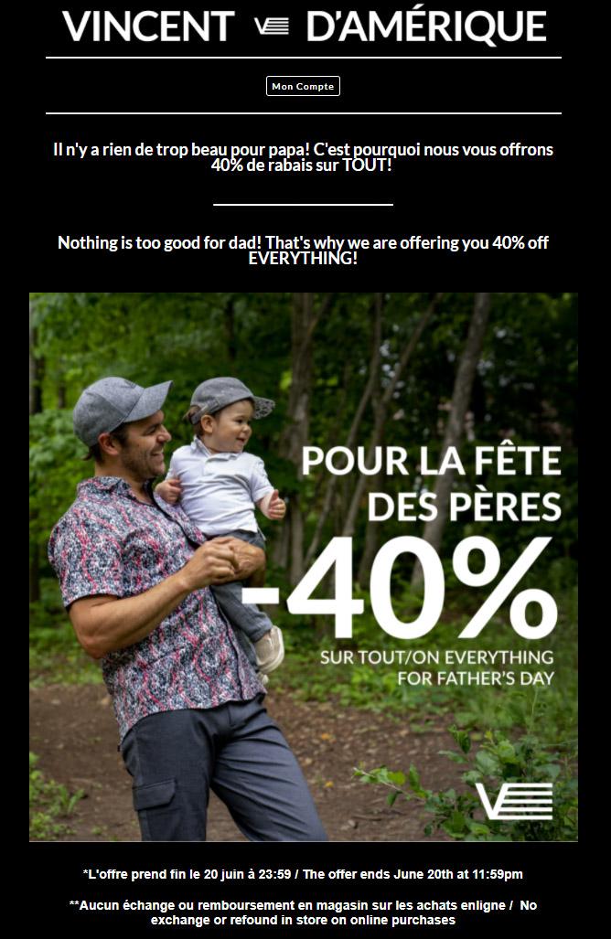Promotion Fête Des Pères!