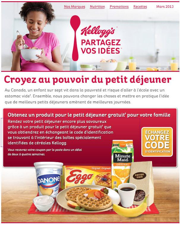 Obtenez Un Produit Pour Le Petit Dejeuner Gratuit Kellogg